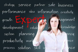 Young business woman writing expert concept
